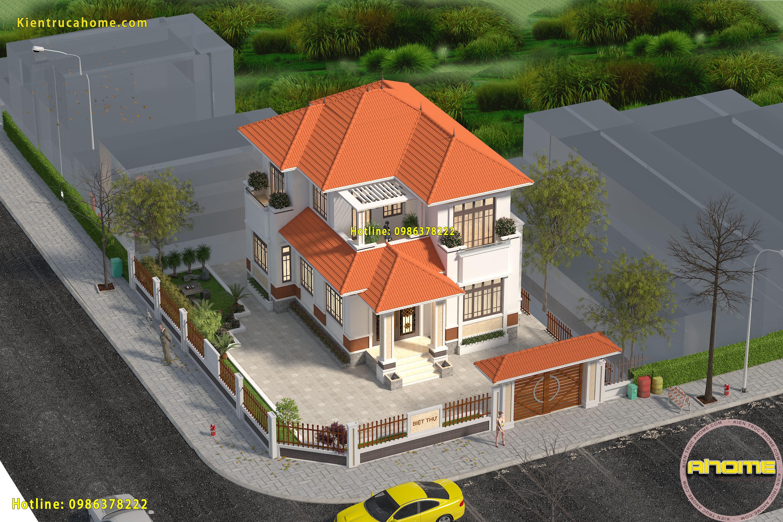 Mẫu biệt thự 2 tầng mái thái AH19054(CĐT: Ông Tuấn- Hải Phòng)