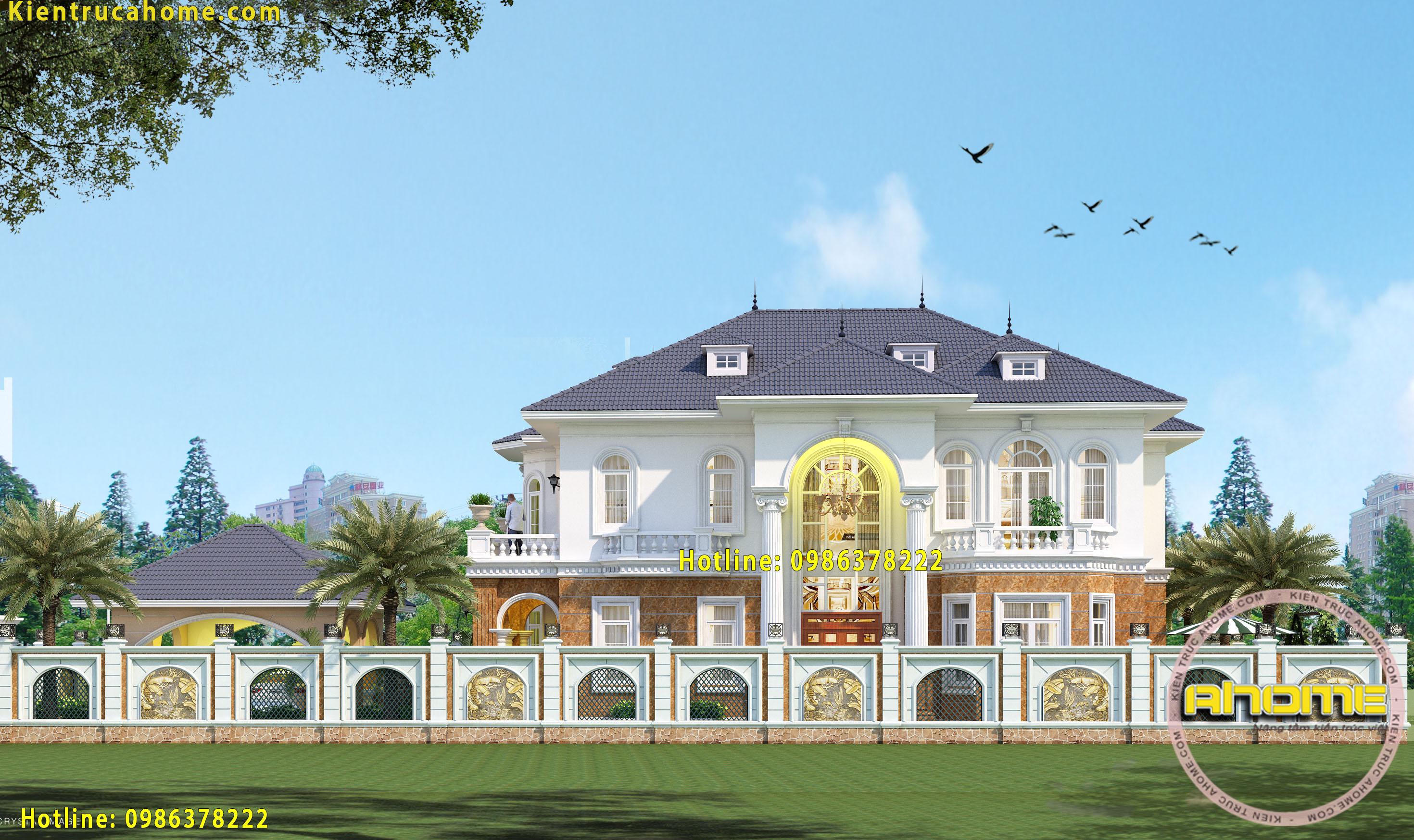 Mẫu biệt thự 2 tầng Tân cổ điển châu Âu tuyệt đẹp AH20006(CĐT: Bà Chung- Lạng Sơn)