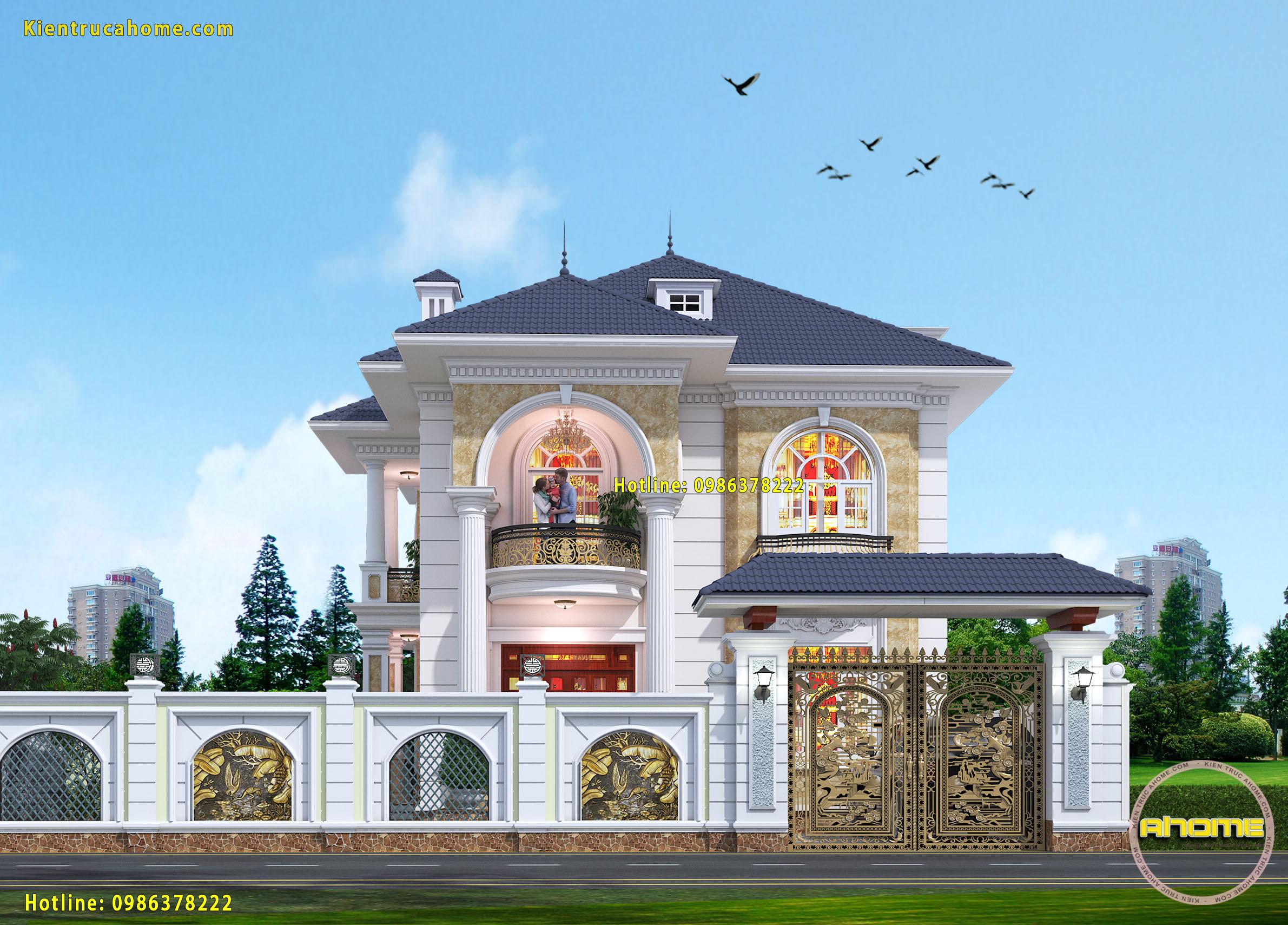 Mẫu biệt thự 2 tầng Tân cổ điển đẹp-2