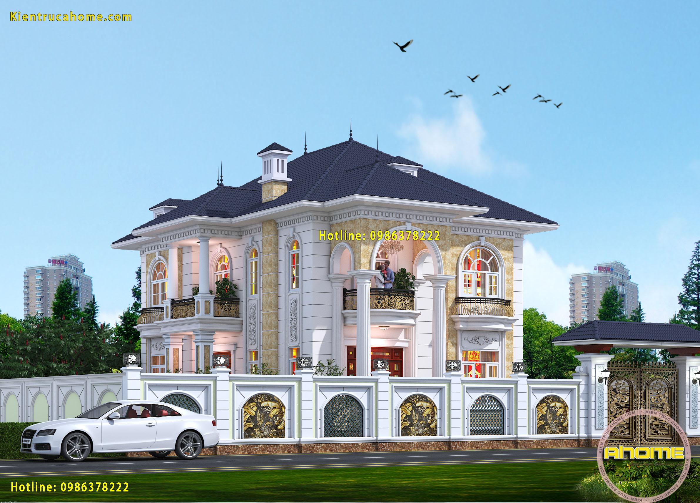 Mẫu biệt thự 2 tầng Tân cổ điển đẹp-3