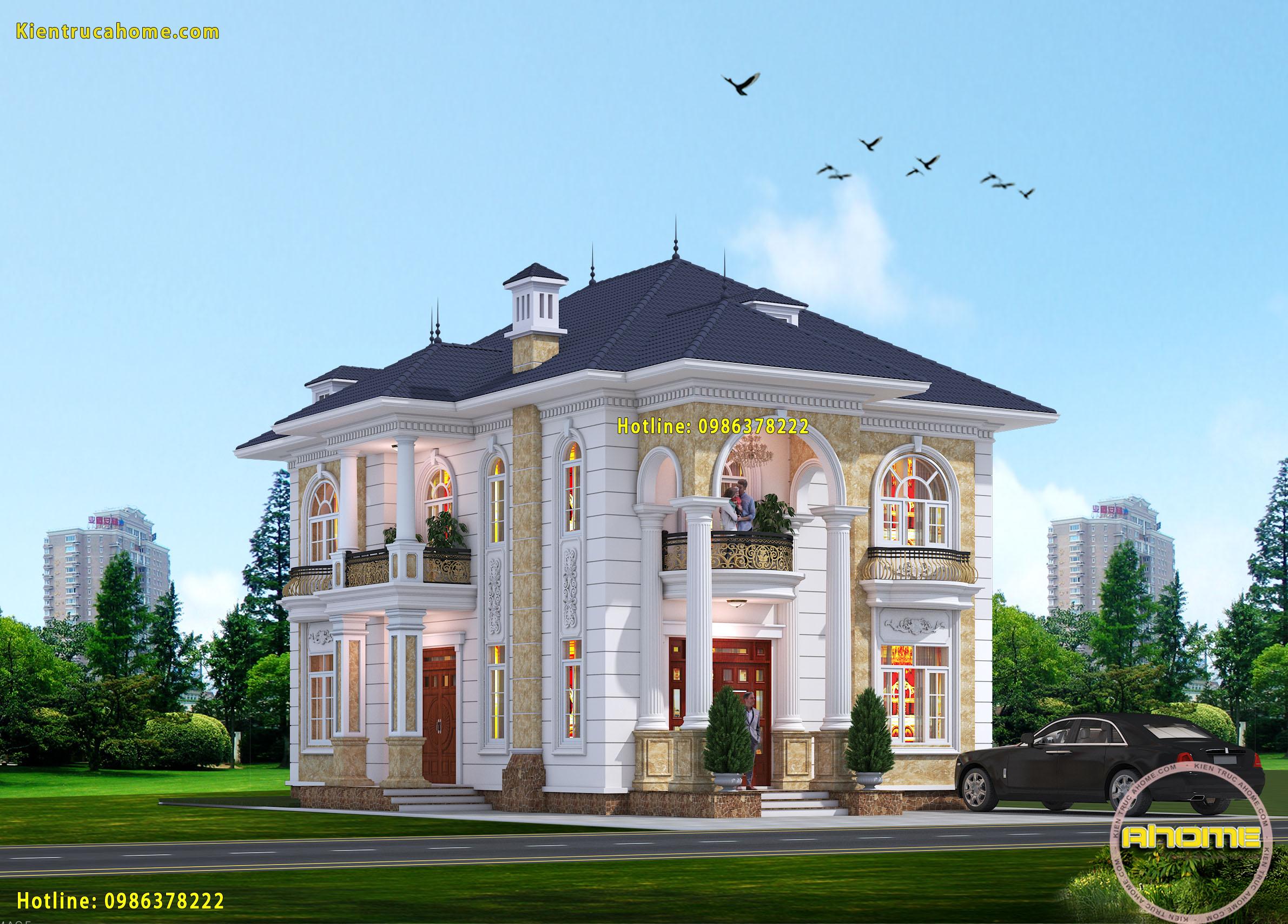 Mẫu biệt thự 2 tầng Tân cổ điển đẹp-4