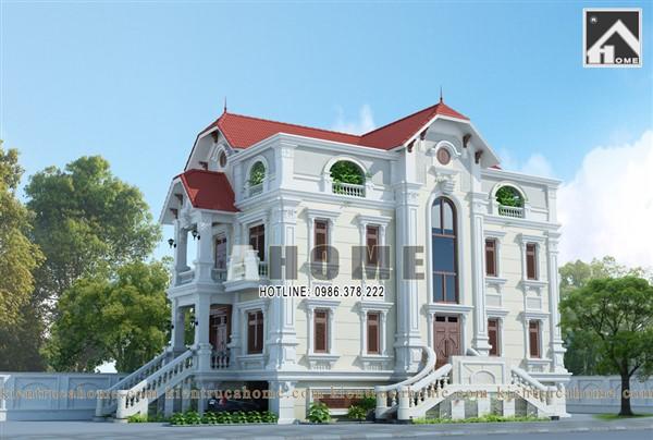 Mẫu thiết kế biệt thự 4 tầng cổ điển AH20036(CĐT: Bà Phương- Hưng Yên)