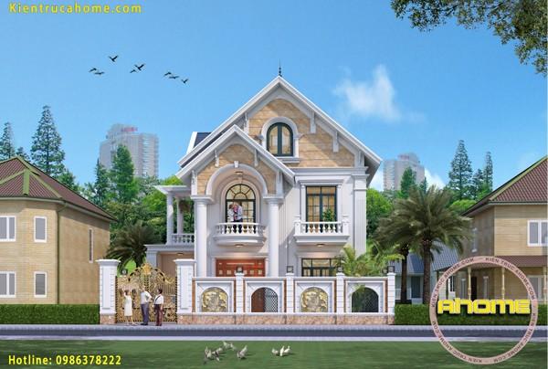 Mẫu thiết kế biệt thự 2 tầng đẹp AH20068(CĐT: Bà Nữ- Hải Dương)