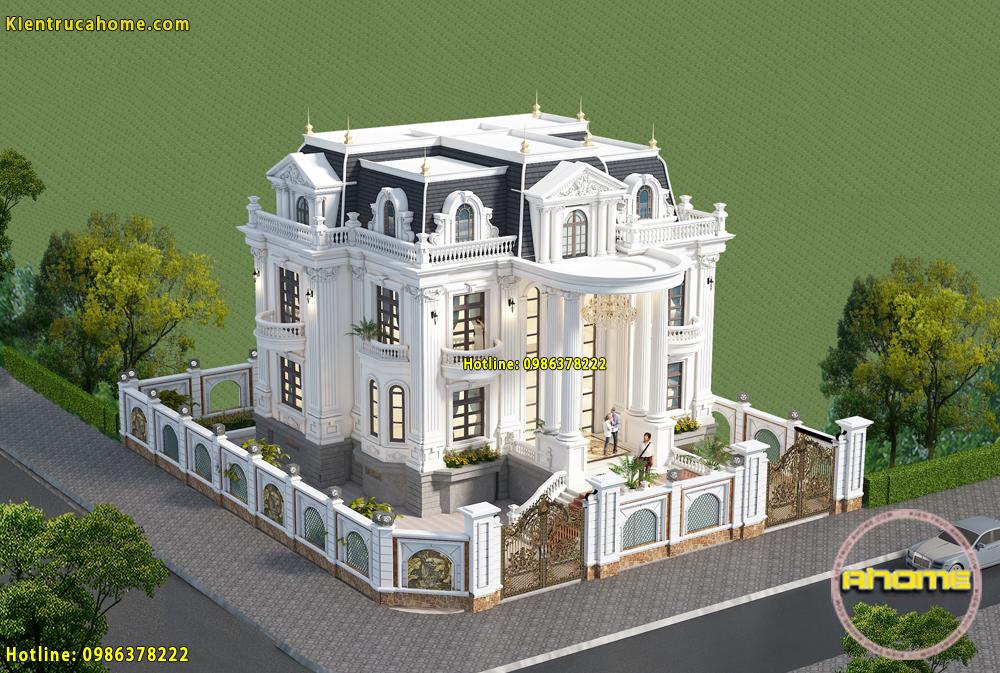 Mẫu biệt thự 3 tầng kiểu Pháp AH20013(CĐT: Ông Huy- Lạng Sơn)