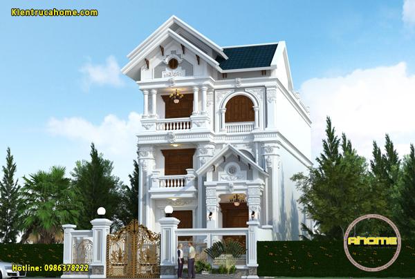 Mẫu biệt thự 3 tầng tân cổ điển kiểu Pháp AH20061(CĐT: Ông Hà- Bắc Ninh)