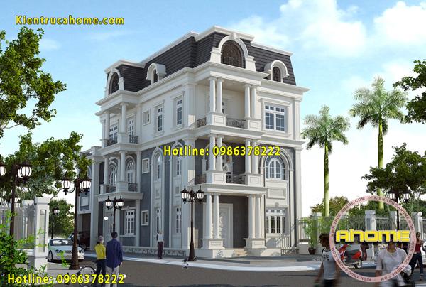 Mẫu biệt thự 3 tầng với mái Mansard AH20062(CĐT: Bà Loan- Vĩnh Phúc)