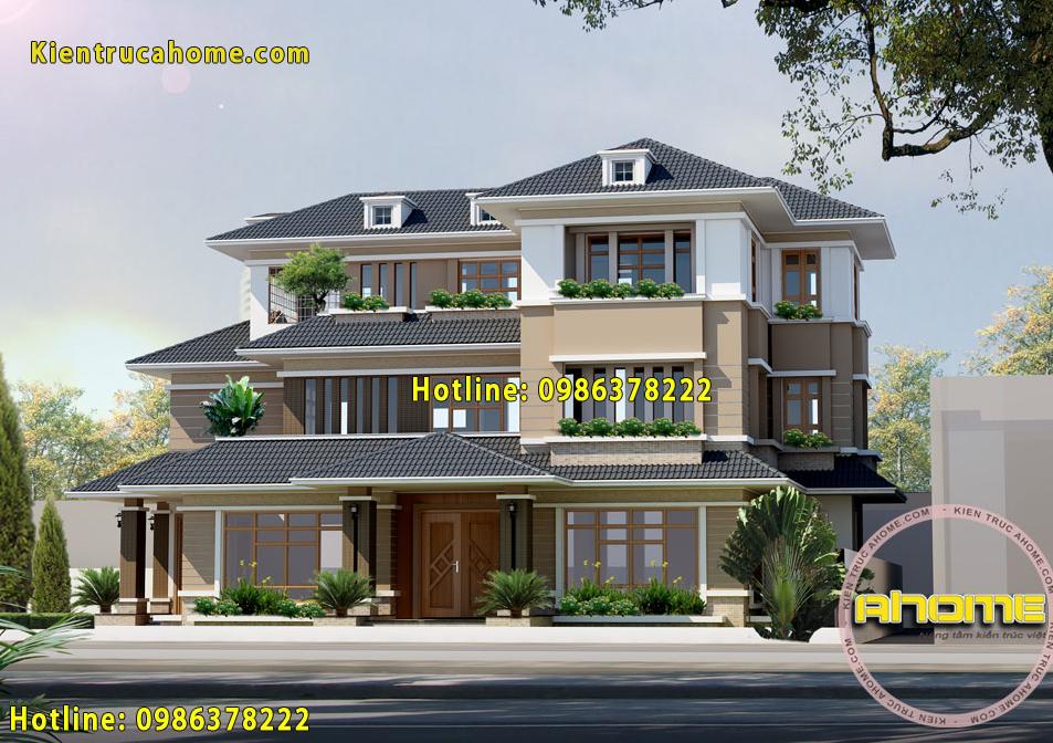 Mẫu biệt thự đẹp 3 tầng mái thái AH20040(CĐT: Ông Thịnh- Phú Thọ)
