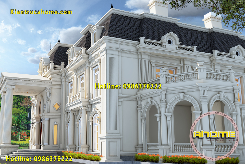 Mẫu dinh thự 2 tầng cổ điển Pháp đẹp lộng lẫy AH20066(CĐT: Bà Mai-Quảng Ninh)