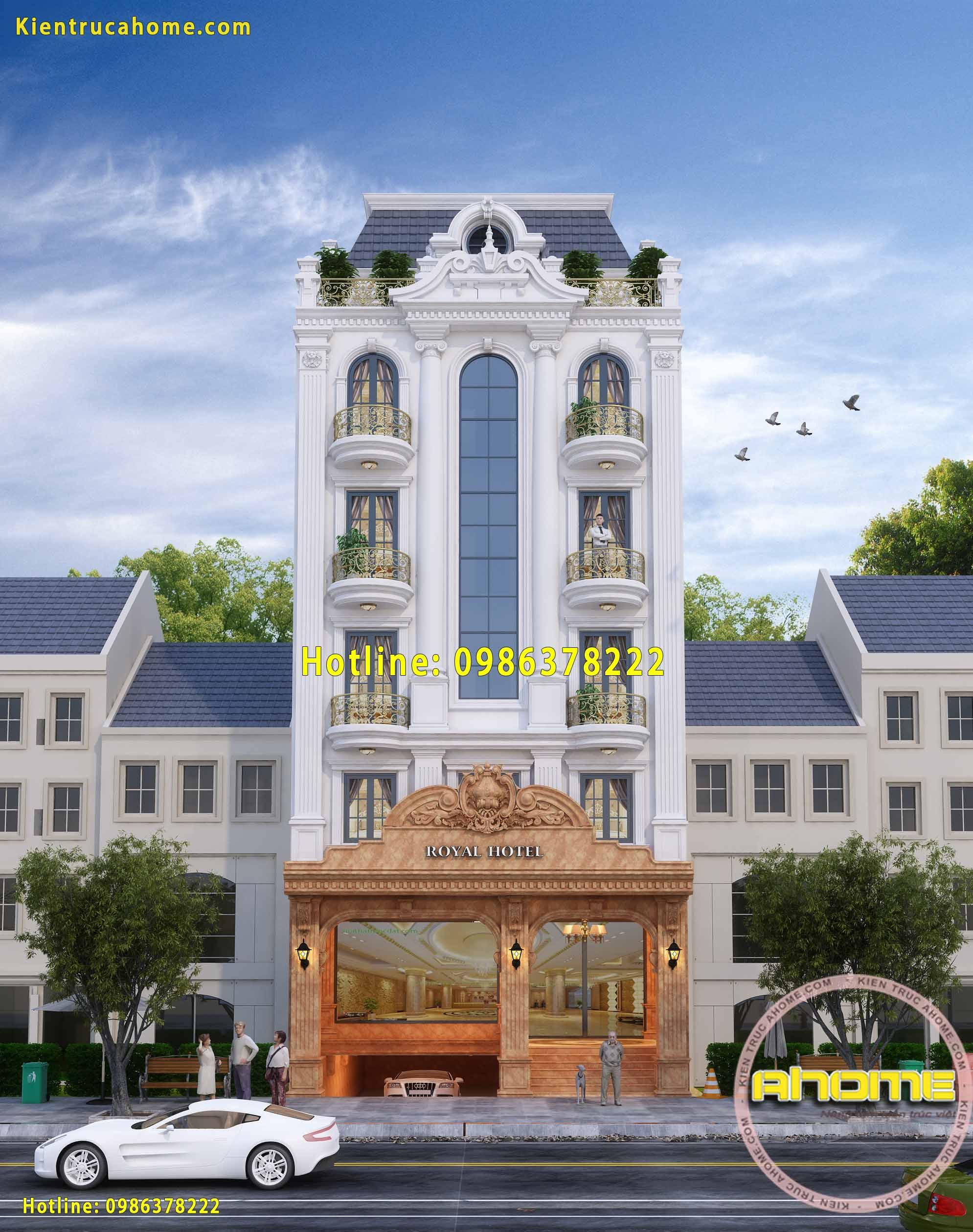 Mẫu khách sạn mini phong cách tân cổ điển đẹp AH20026(CĐT: Bà Loan- Nha Trang)