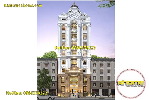 Mẫu khách sạn tân cổ điển đẹp 9 tầng tại TPHCM AH20022(CĐT: Ông Toản- TPHCM)