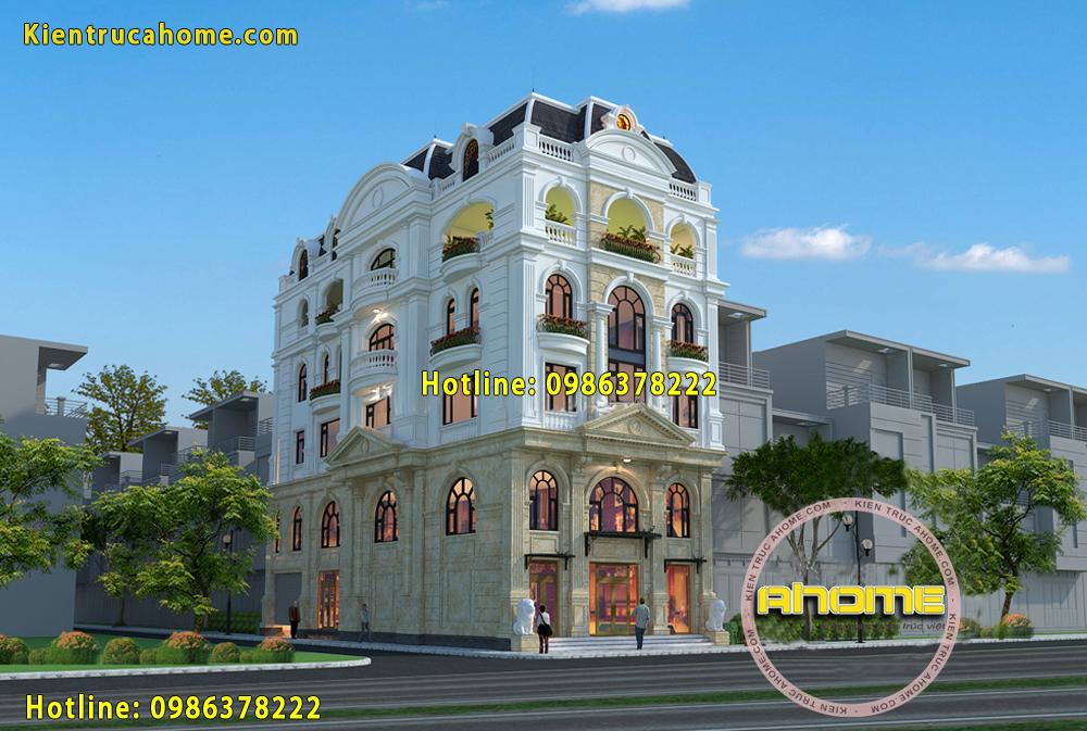 Mẫu nhà ở kết hợp kinh doanh kiểu Pháp AH20023(CĐT: Bà Vân- Lâm Đồng)