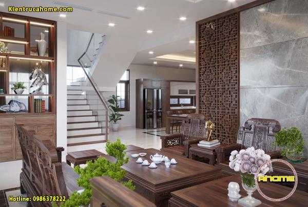 Mẫu nội thất biệt thự Hiện đại với gỗ Óc chó đẹp NT20009(CĐT: Ông Nam- TPHCM)