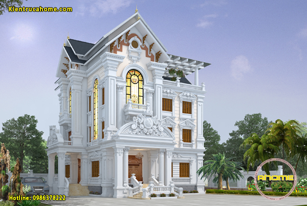 Mẫu thiết kế biệt thự 3 tầng Tân cổ điển AH20058(CĐT: Ông Phúc- TPHCM)