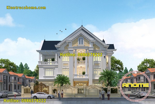 Mẫu thiết kế biệt thự 3 tầng tân cổ điển đẹp AH20043(CĐT: Ông Hoàng- Quảng Ninh)