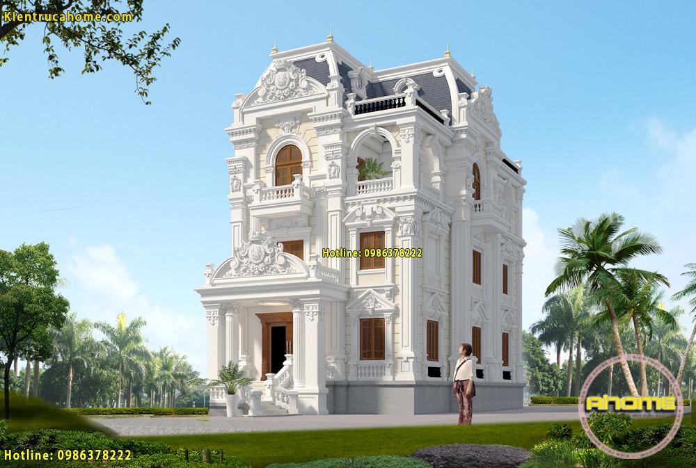 Mẫu thiết kế biệt thự 3,5 tầng cổ điển Pháp AH20060(CĐT: Bà Sen- Thái Bình)