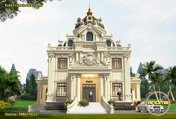Mẫu thiết kế biệt thự cổ điển dáng lâu đài mini đẹp AH20057(CĐT:  Bà Thụy Anh- Kiên Giang)