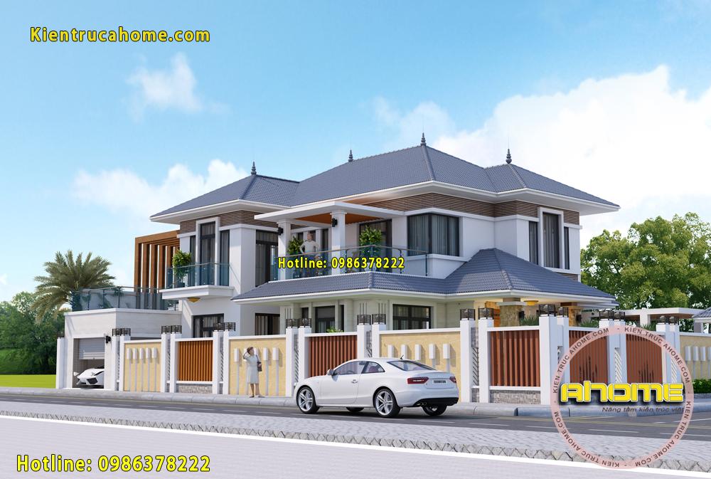 Thiết kế biệt thự 2 tầng Hiện đại mái thái AH20074(CĐT: Ông Hùng- Hưng Yên)