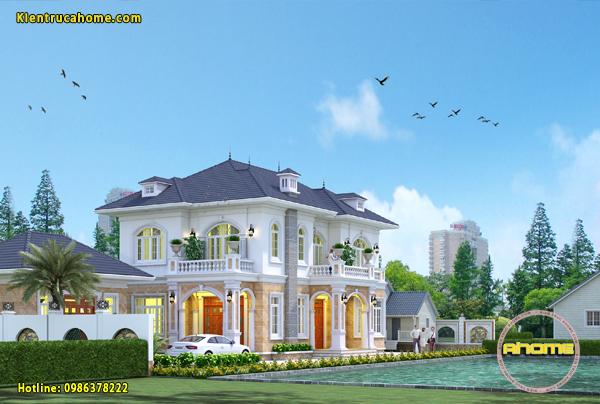 Thiết kế biệt thự 2 tầng tân cổ điển AH20031(CĐT: Ông Lâm- Hưng Yên)