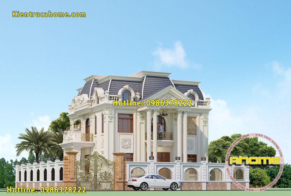 Mẫu thiết kế biệt thự cổ điển 2 tầng đẹp hút mắt