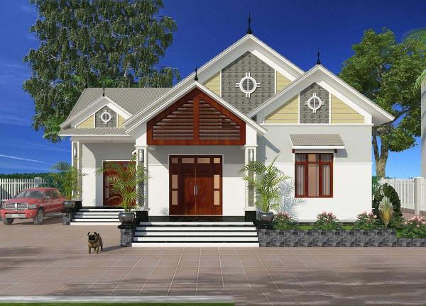 mẫu thiết kế biệt thự nhà vườn 1 tầng