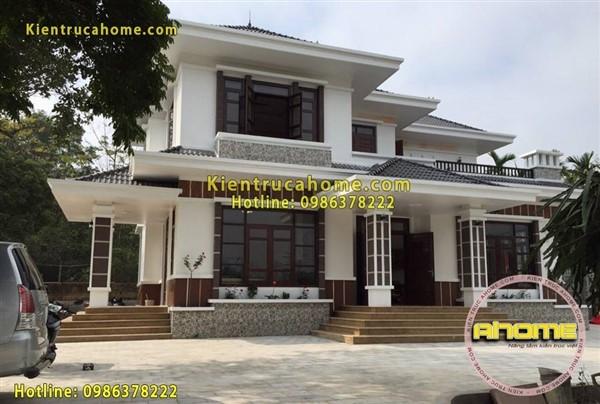 Thi công biệt thự Hiện đại 2 tầng mái thái(CĐT: Bà Lan- Bắc Ninh)