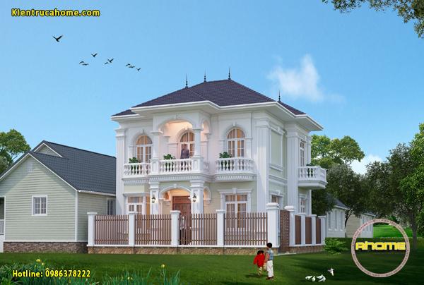 Thiết kế biệt thự 2 tầng tân cổ điển AH20095(CĐT: Bà Hương- HN)