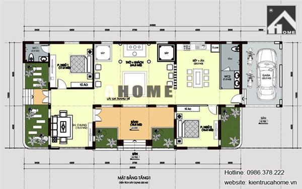Mẫu thiết kế biệt thự 1 tầng châu Âu AH20105(CĐT: Ông Nam- Đăk Lăk)