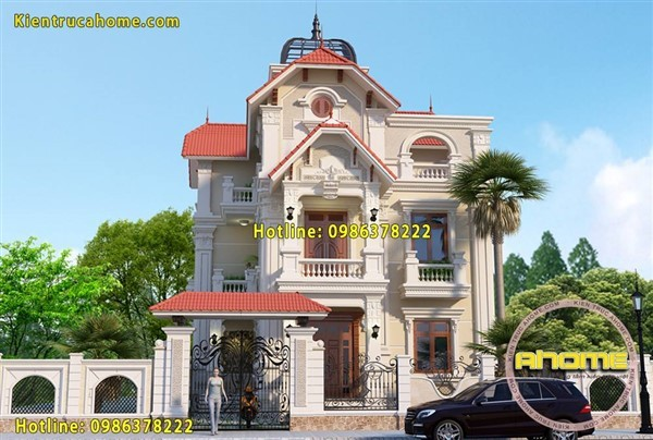 Mẫu biệt thự 3 tầng kiểu Pháp AH20118(CĐT: Ông Hùng- Nam Định)