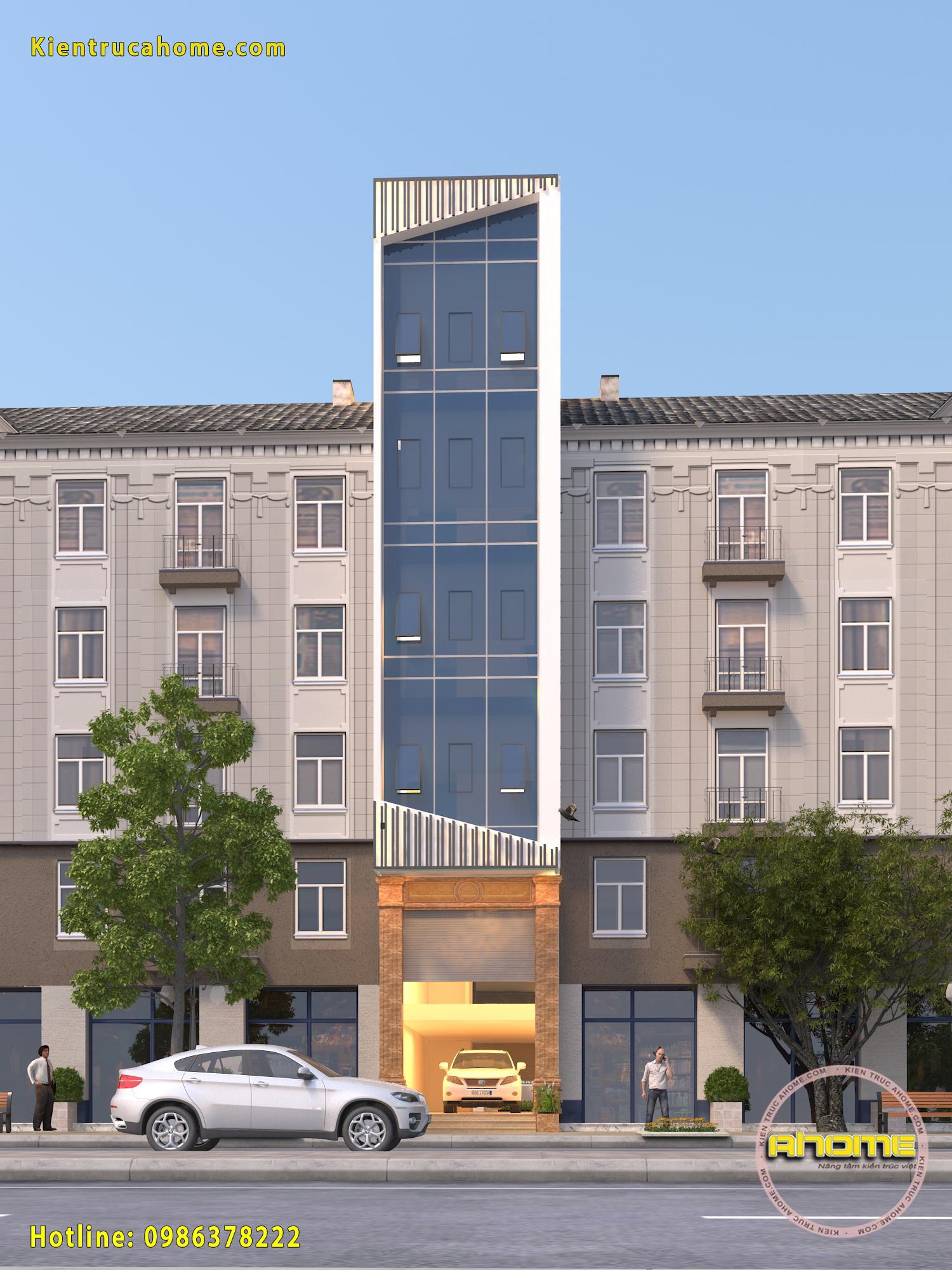 Mẫu nhà kinh doanh 7 tầng Hiện đại AH20113(CĐT: Ông Đạt- Tây Hồ)