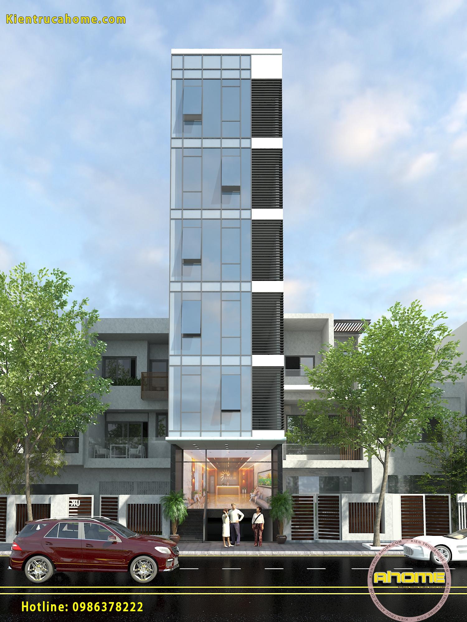 Mẫu nhà ở kết hợp kinh doanh 7 tầng hiện đại AH20112(CĐT: Ông Cường- Nghi Tàm)