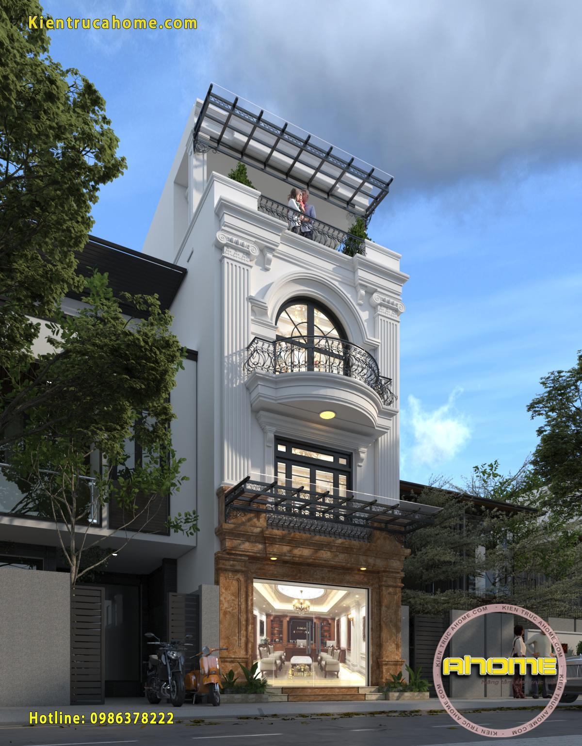 Mẫu nhà lô 4 tầng cổ điển AH20132(CĐT: Ông Bình- Lào Cai)