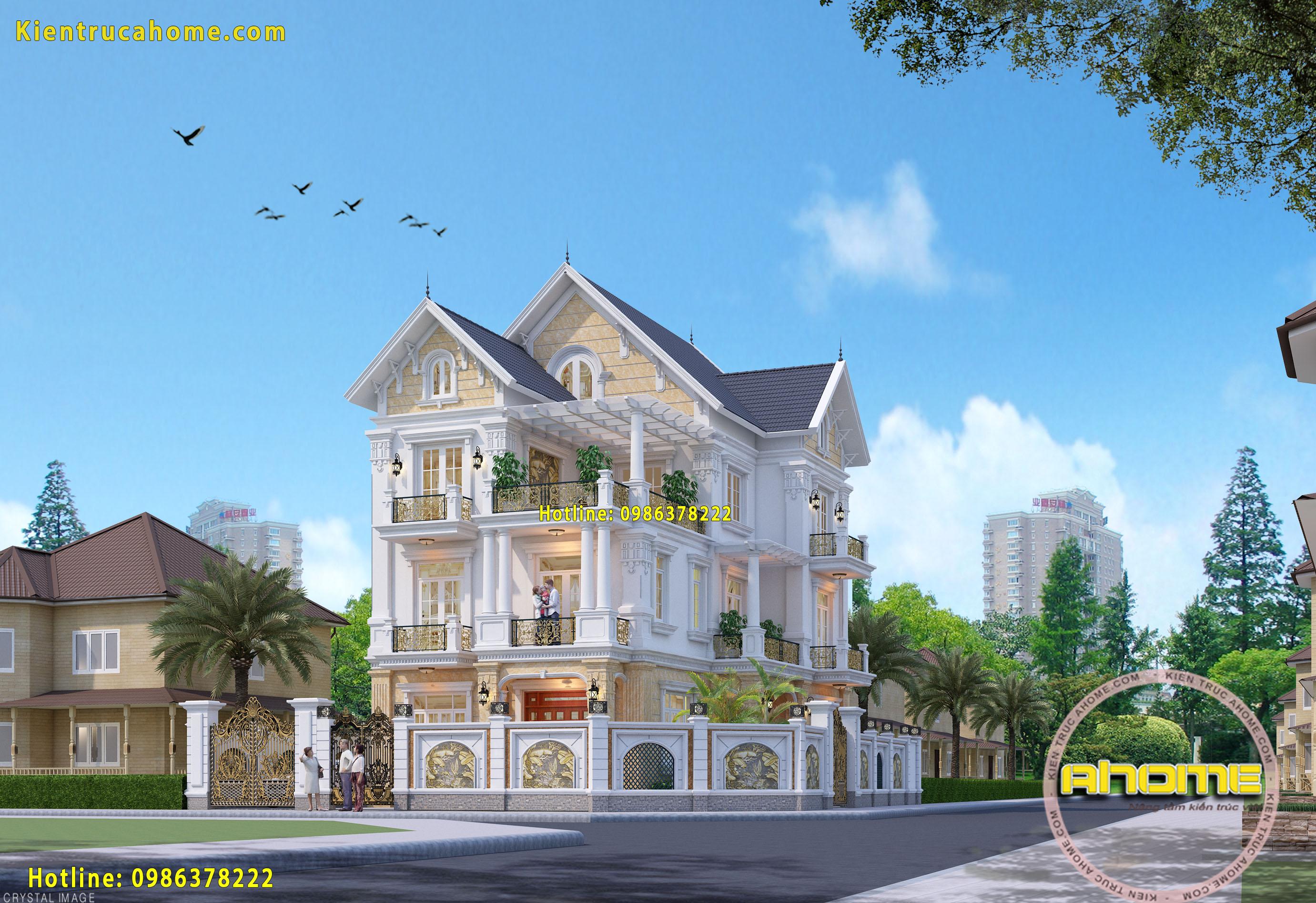 thiết kế kiến trúc biệt thự Tân cổ điển 3 tầng-3