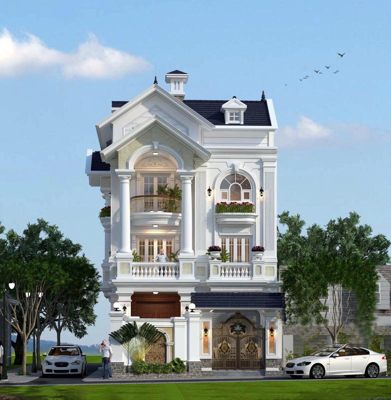 thiết kế kiến trúc biệt thự Tân cổ điển 3 tầng-4