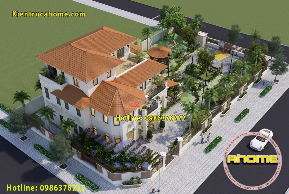 thiết kế kiến trúc biệt thự Tân cổ điển 3 tầng-5