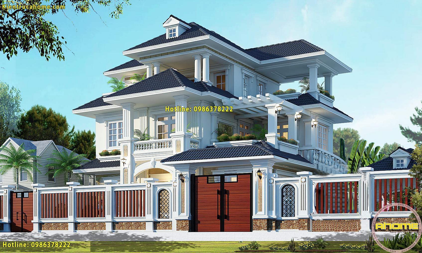 thiết kế kiến trúc biệt thự Tân cổ điển 3 tầng-2