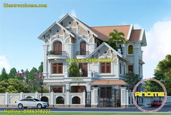 thiết kế kiến trúc biệt thự Tân cổ điển 3 tầng-7