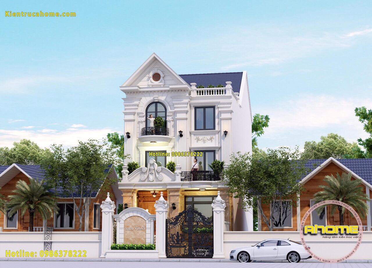 thiết kế kiến trúc biệt thự Tân cổ điển 3 tầng-9