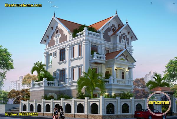Đặc trưng trong thiết kế kiến trúc biệt thự Tân cổ điển 3 tầng.
