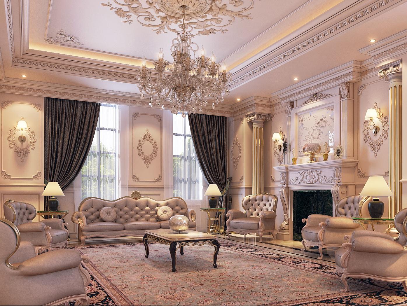 Mẫu nội thất biệt thự cổ điển hoàng gia-2