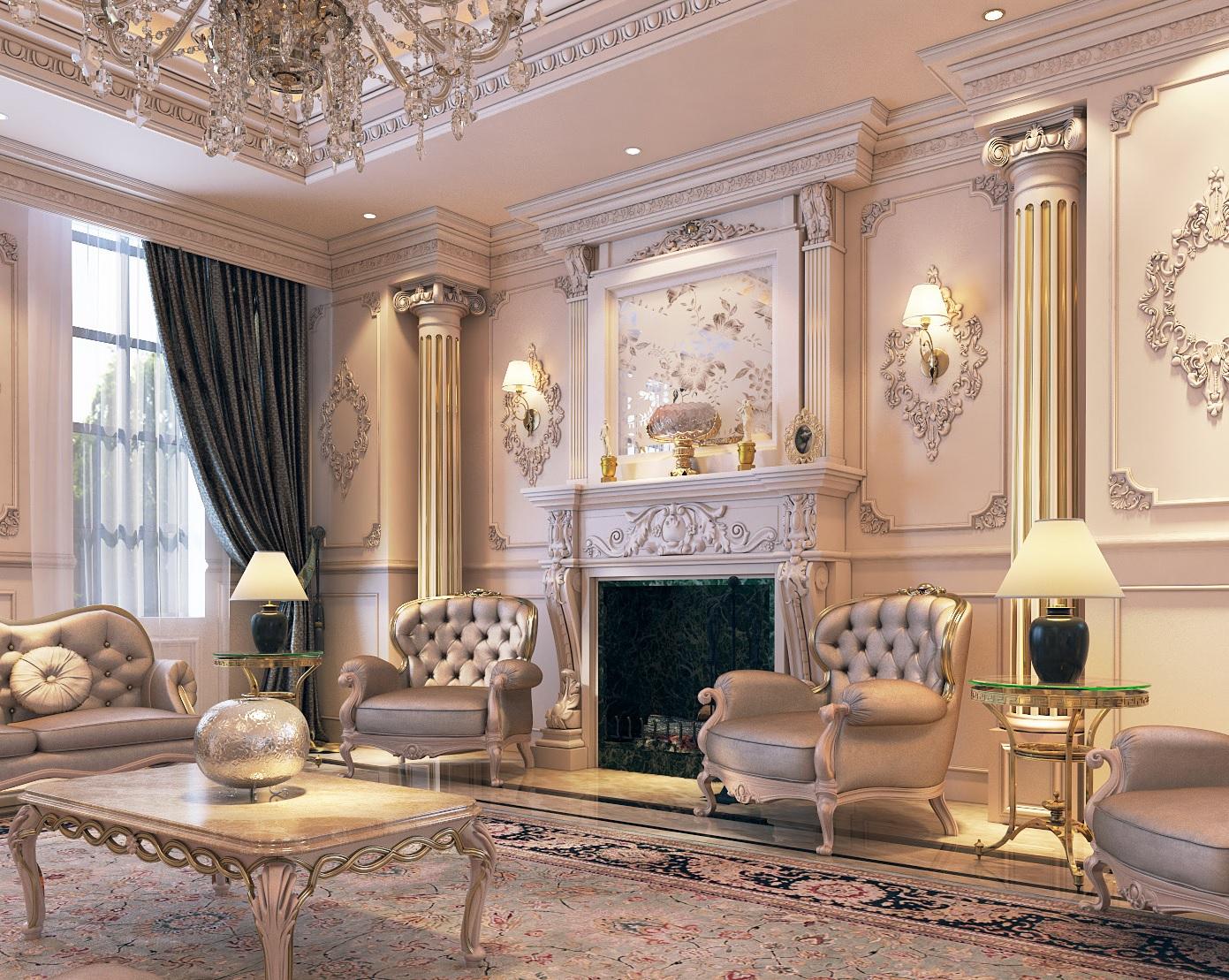 Mẫu nội thất biệt thự cổ điển hoàng gia-3