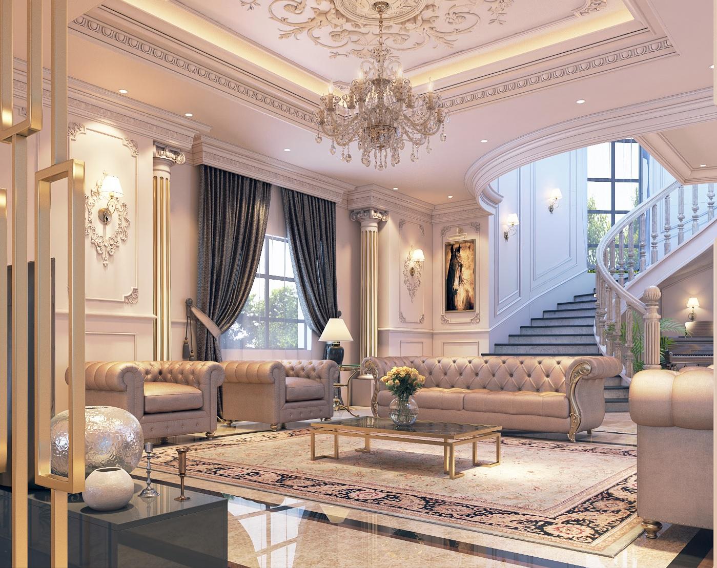 Mẫu nội thất biệt thự cổ điển hoàng gia-5