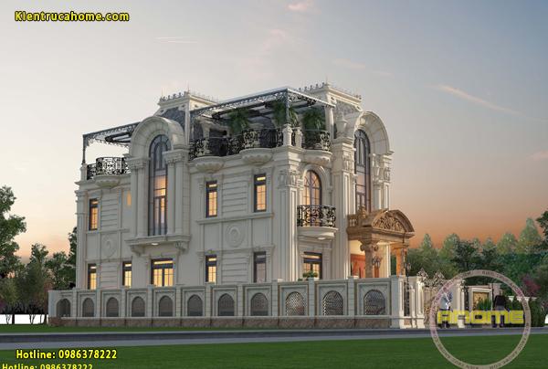Mẫu biệt thự 3 tầng cổ điển Châu Âu AH20150(CĐT: Bà Phương- Lào Cai)