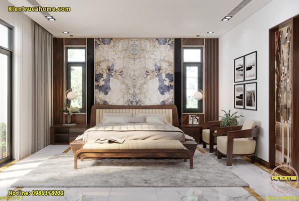 Mẫu nội thất phòng ngủ Master Hiện đại với gỗ Óc chó nhập khẩu Bắc Mỹ.