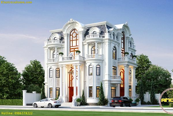 Mẫu biệt thự 4 tầng cổ điển đẹp AH21028(CĐT: Bà Trâm- Phú Thọ)