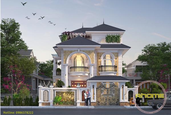 Thi công biệt thự 2.5 tầng tân cổ điển siêu đẹp( CĐT: Ông Thanh- Hưng Yên)