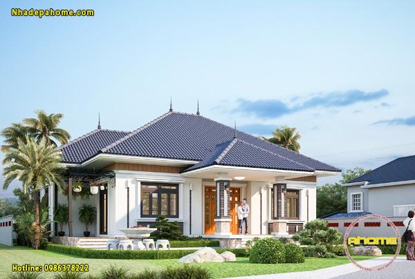 Mẫu biệt thự 1 tầng ở nông thôn giá rẻ AH21033(CĐT: Ông Quận- Bắc Ninh)